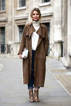 Le Fashion Blog Fall Winter Street Style Long Suede Trench Coat Mock Neck Ribbed Sweater Boyfriend Jeans Python Snakeskin Ankle Boots Via Stockholm Street Style