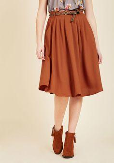 Breathtaking Tiger Lilies Midi Skirt in Orange in XL - Full Skirt Long