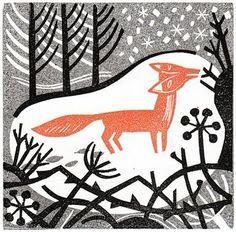 'Winter Fox Linocut by' Clare Curtis Art And Illustration, Fuchs Illustration, Linocut Prints, Art Prints, Block Prints, Fox Art, Wood Engraving, Art Plastique, Letterpress