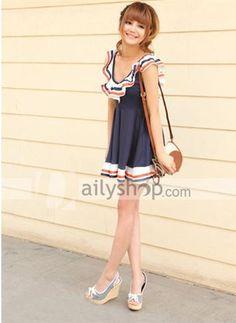 Navy Preppy Style Falbala Retro Large Hem Women Dress