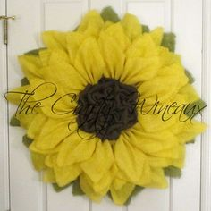 Get ready for #Spring! Get your #Burlap #Sunflower #Wreath today! Also on thecraftywineaux.com!