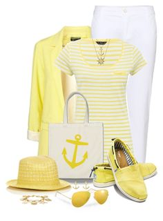 """""""Yellow and White Nautical Style"""" by snickersmother ❤ liked on Polyvore featuring J Brand, M&Co, Jigsaw, Bling Jewelry, TOMS, Dogeared, The Limited and Ray-Ban"""