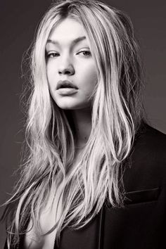 Gigi, Hadid, natural, hair, black/white, photoshoot,