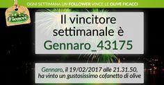 Bravo Gennaro, la tua prontezza ti ha premiato... Hai vinto! Riceverai il cofanetto di #Olive Ficacci direttamente a casa tua!