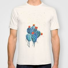 Blue Watercolor Cactus  T-shirt by Hyde The Wild Boar - $22.00