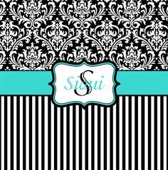 Tiffany Blue, Black and White Damask Shower Curtain - Monogrammed Shower Curtain - Custom Shower Curtain - Personalized Decor on Etsy, $76.00