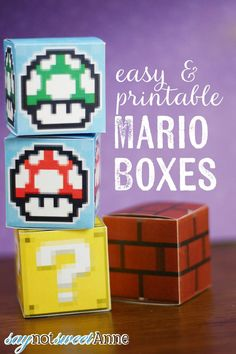 Easy Printable Mario Boxes - great for decor, gifts or play!   saynotsweetanne.com