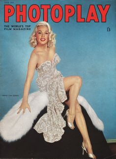 """Mamie Van Doren on the front cover of """"Photoplay"""" magazine, United Kingdom, June 1955."""