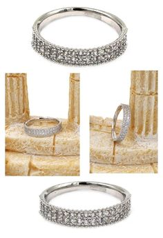 """""""Simple double small crystal silver ring"""" by oceanfashion on Polyvore"""