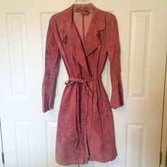 PINK SUEDE MIDI COAT Worn once size medium 100% suede cpuple small spots inside. No damage at all that can be seen when worn! **remember to bundle and save 10%** no holds/trades Bisou Bisou Jackets & Coats Trench Coats