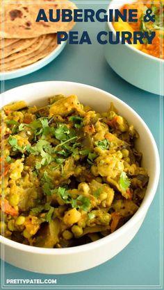 aubergine & pea curry, ringan nu shaak, gujarati recipe, indian curry, vegan, gluten free, vegetarian, low carb l www.prettypatel.com