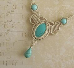Turquoise Macrame Necklace Micromacrame Necklace by byMiSt