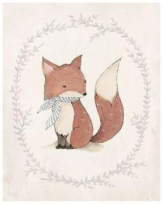 Una ilustración muy vintage de un tierno zorrito #ilustracionesinfantiles #dibujosparaniños