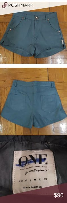 One teaspoon blue grey leather shorts Perfect condition other than mark shown on tag. Size small would fit size 25/26 best One Teaspoon Shorts