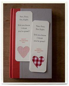 Valentine Bookmarks--too cute inchmark - inchmark journal
