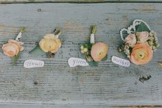 Becky's Brides | Garden Themed Wedding Inspiration | J.Woodbery Photography | Blog | Boutonnieres by Studio Flower