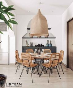 The metal framed base of the #diningtable and #rattan #chairs lend a clean aesthetic look to the space.Huge pendant #bell #light hangs atop in the center. #renovation #apartment #nordichome #nordicdesign #nordicinspiration #diningroomdecor #interiordesign #HoChiMinhcity #vietnam #architect #designer #LIBteam