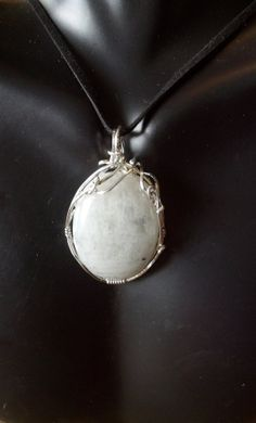 52ct Rainbow Moonstone wrapped in Sterling silver by GypsyNonnie, $50.00