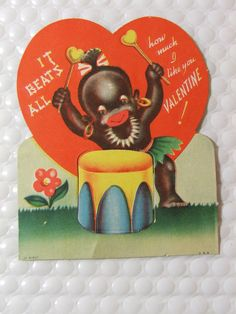 Unbelievably Racist Vintage Valentine's Day Cards from the In the early racist imagery was widely used in consumer products—even Valentine's Day cards—and relied on caricatures and stereotypes to create humor. Vintage Valentine Cards, Funny Valentine, Be My Valentine, Valentine Ideas, Vintage Holiday, Valentine's Day Greeting Cards, Vintage Greeting Cards, Vintage Postcards, Vintage Ephemera
