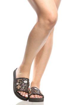 62dbe4e96e9 Black Glitter Embellished Slide Sandals   Cicihot Sandals Shoes online  store sale Sandals