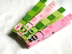 OWL CLOTHESPINS  hand painted magnetic pegs pink by SugarAndPaint, $11.00