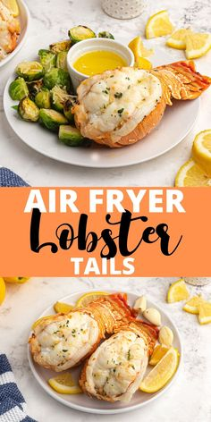 EASY to make Lobster tails come out perfectly in the air fryer. Topped with melted butter and garlic, they are the perfect air fryer dinner! Salmon Recipes, Fish Recipes, Seafood Recipes, Great Recipes, Keto Recipes, Air Fryer Oven Recipes, Air Frier Recipes, How To Cook Lobster
