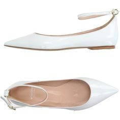 Valentina  Ballet Flats ($110) ❤ liked on Polyvore featuring shoes, flats, white, white flats, ballet pumps, white flat shoes, flat shoes and leather flats
