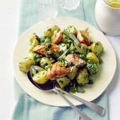New potato and grilled salmon salad with Dijon and parsley dressing.