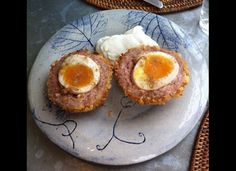 Scotch eggs. Delicious! Add some HP Sauce for an authentic touch...