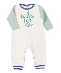 Look what I found on #zulily! Ivory & Sea Green 'Hello Sea' Playsuit #zulilyfinds