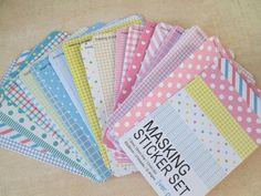 Masking Sticker Set  ver pastel  27 Sheets  by HazalsBazaar, $4.95