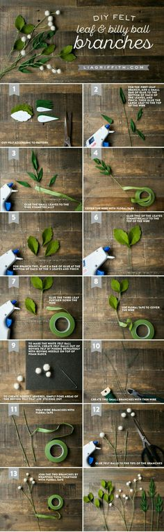 Sewing Fabric Flowers Felt Flower Greens and Billy Balls - Lia Griffith - Create your own stunning felt flower rose bouquet with these patterns and tutorials from handcrafted lifestyle expert Lia Griffith. Diy Fleur Papier, Papier Diy, Felt Diy, Felt Crafts, Fabric Crafts, Diy Crafts, Crepe Paper Flowers, Fabric Flowers, Ribbon Flower