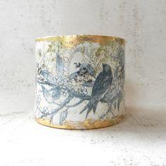 Decoupage Bracelet Blue Bird Jewelry Cuff Bracelet by AlbinaRose, $34.00