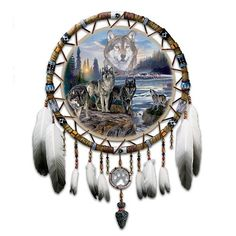 Native American Wolves Dream Catcher