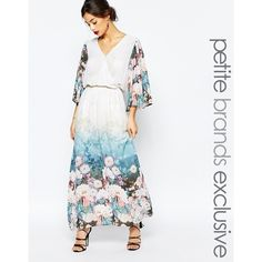 True Decadence Petite Border Print Maxi Dress (€79) ❤ liked on Polyvore featuring dresses, multi, floral maxi dress, wrap maxi dress, wrap dress, white dress and fitted maxi dress