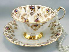Vintage Queen Anne Teacup & Saucer Delicate Floral Gilded