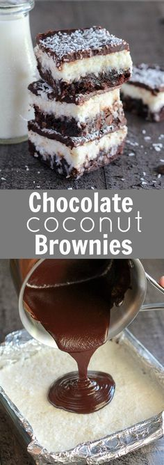 Chocolate Coconut Brownies - Fudgy brownies topped with a layer of creamy sweet coconut, and finished with a smooth chocolate ganache. Use your favorite boxed or homemade brownie recipe for this decadent triple layer dessert. ++