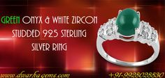 Green Onyx & White Zircon Studded 925 Sterling Silver Ring