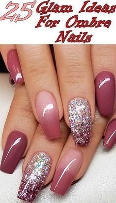 25 Glam Ideas For Ombre Nails - beautiful nail art designs & tutorial video gallery by nded , Ombre Nail Designs, Acrylic Nail Designs, Nail Art Designs, Nail Designs For Toes, Cute Acrylic Nails, Cute Nails, Pretty Nails, Glitter Nail Polish, Hair And Nails
