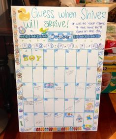 Guess the Due Date! Baby Shower activity.