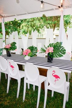 Guest table from a Modern Flamingo Birthday Party on Kara's Party Ideas | KarasPartyIdeas.com (20)