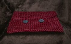 Crochet laptop sleeve  burgundy colored 11.5 x 7.5 by RoxieandBen.  For sale on Etsy, $35  See our Holiday sale on Etsy - 10% off now through Monday, December 1, 2014.