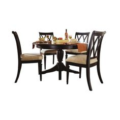 Camden Round Casual 5 Piece Dining Set in Black Finish