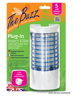 STV International Plug-In Insect Killer Blue light insect attractant combined with adhesive insect catcher for low cost and effective control of light-sensitive flying insects.