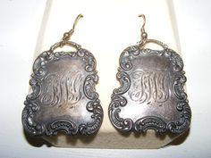 Steampunk T Foree antique Sterling silver pierced earrings