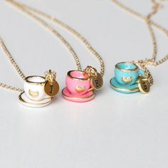 tea set necklace, initial necklace tiny pink tea pot jewelry, cooking party jewelry,tea party necklace,mini coffee pot necklace gift for mom by YesOrNoDesign on Etsy https://www.etsy.com/listing/230224932/tea-set-necklace-initial-necklace-tiny