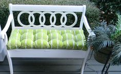 Indoor / Outdoor Green Geometric Tufted Cushion for Bench / Swing / Glider with Ties - Choose Size  Ask a Question $39.99 USD. USA