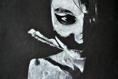 White pastel pencil on black page