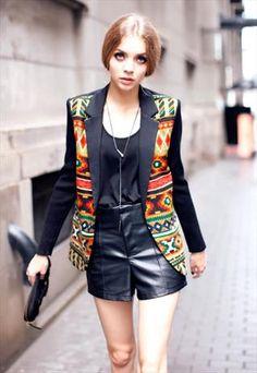 Ethnic style colorful pattern blazer
