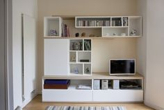 Light TV-unit & storage for a small living room Living Area, Small Living, Living Rooms, Bookshelves, Bookcase, Furniture Inspiration, Tv Units, Storage, House